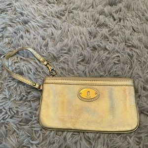 Fossil Gold Cow Hide Leather Wristlet